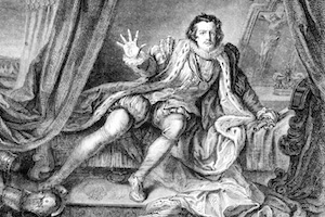 "Cultural diversity. An engraving of Garrick. He might be saying ""no women in this club""."