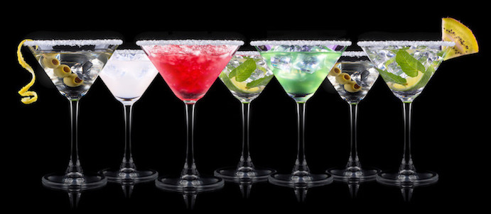 Cocktails present particular problems in alcohol licensing. This is a colourful row of alcoholic drinks lined up